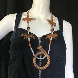 Vintage African Safari Zebra Boho wooden Necklace